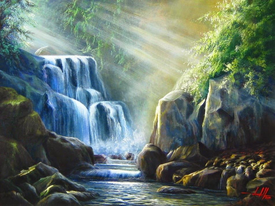 Quadro com Pintura em Tela - Cachoeira