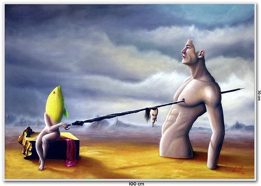 Obra Surrealista em Óleo sobre Tela - Adonis