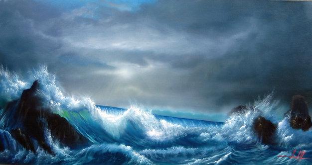Pintura em Óleo sobre Tela 95 X 50 cm - Marinha 3