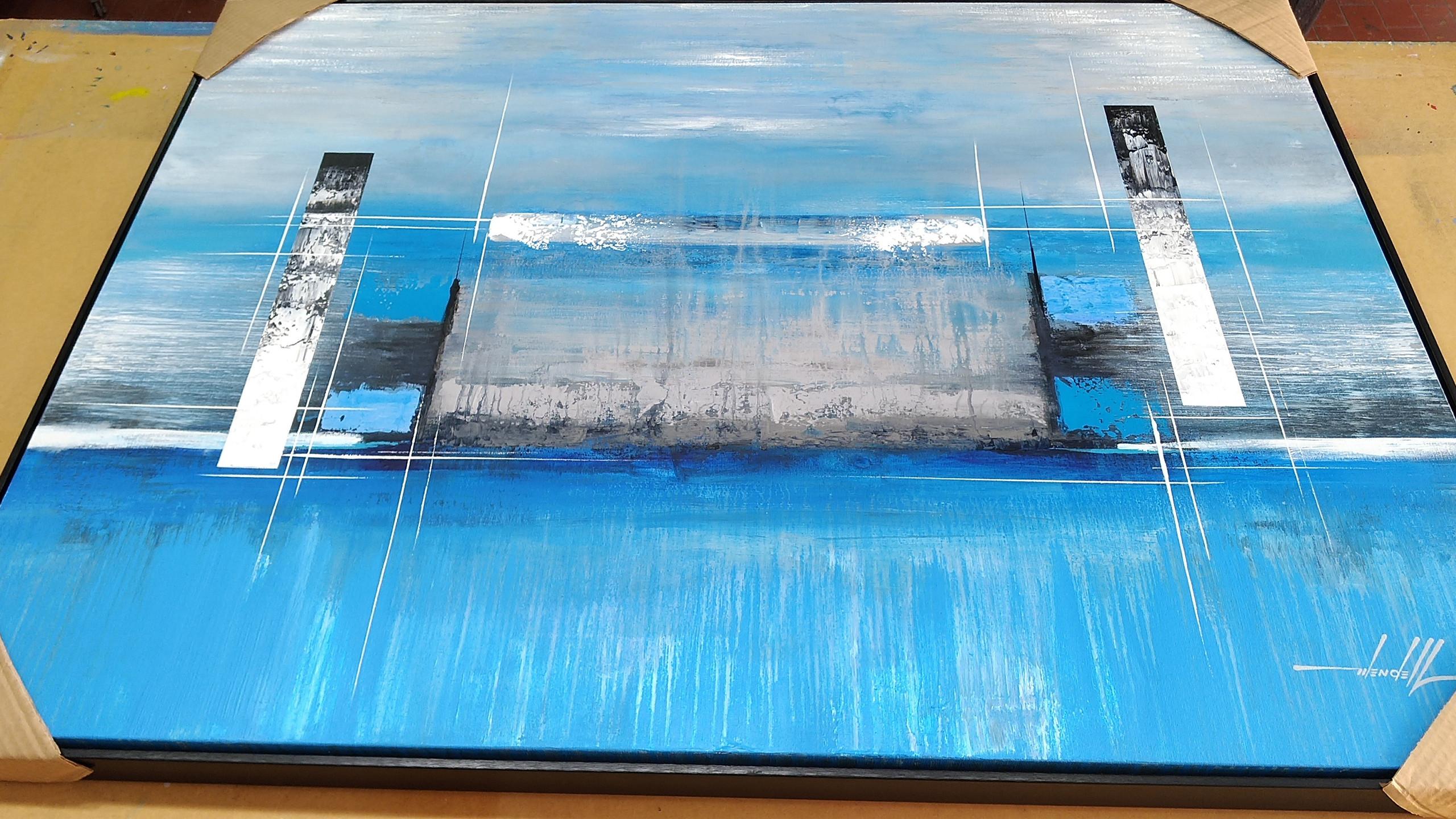 Quadro Abstrato Azul 1,20 M X 0,90 M (10