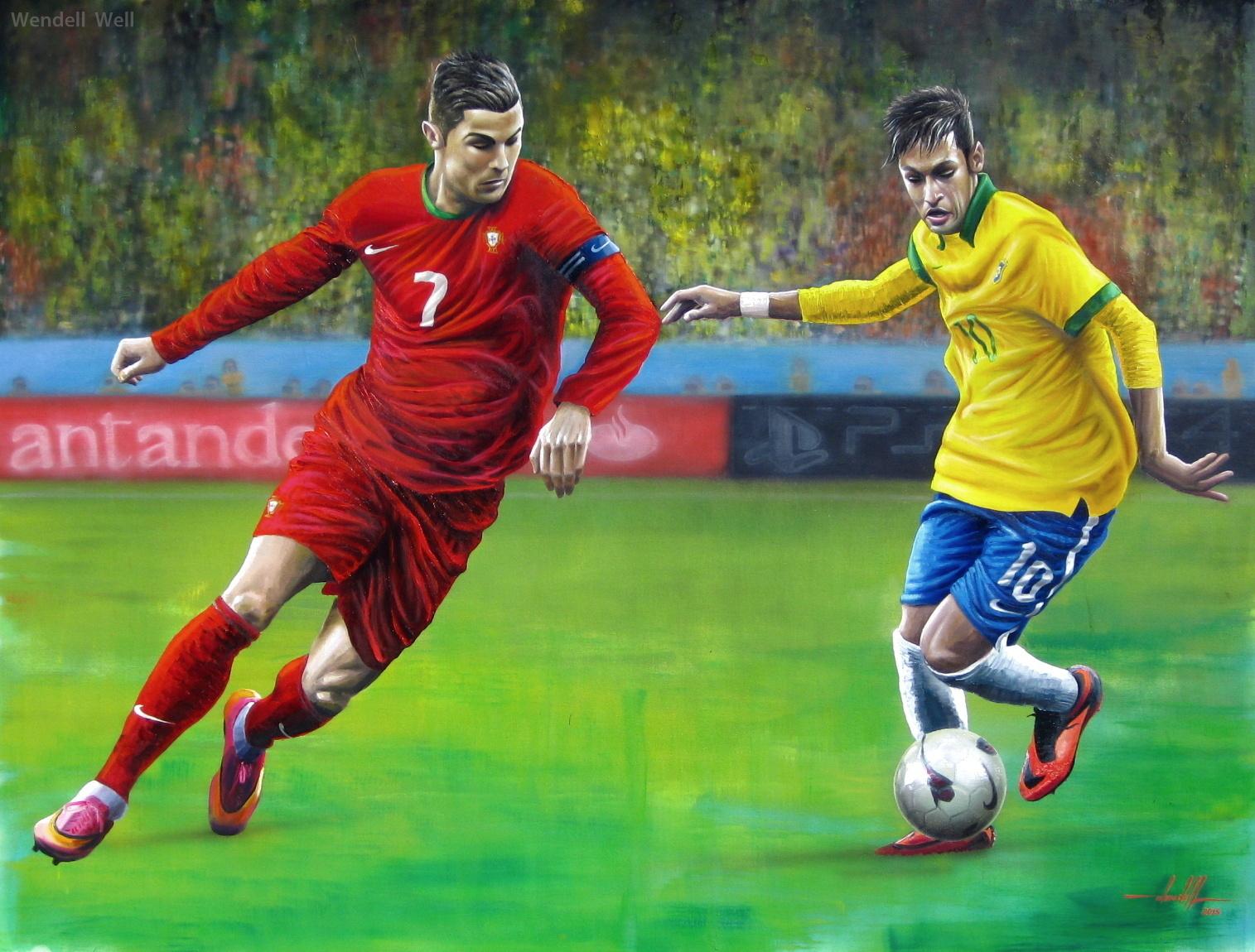Pintura Neymar e Cristiano Ronaldo