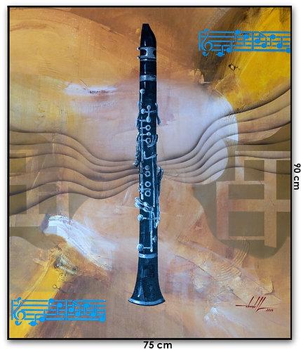 Quadro Com Pintura Em Tinta Acrílica 75 cm X 90 cm - O Clarinete