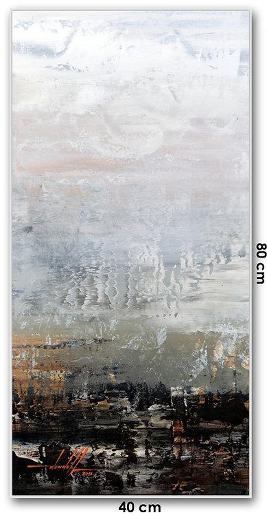 Quadro Com Pintura Abstrata Em Tela - Com Moldura - Orionbay