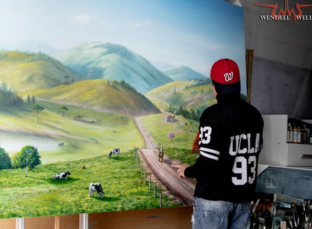 Pintura De Paisagem Rural Em Óleo Sobre Tela