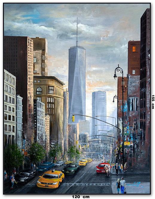 Obra De Arte New York Oleo Sobre Tela - 1,20 M X 1,55 M