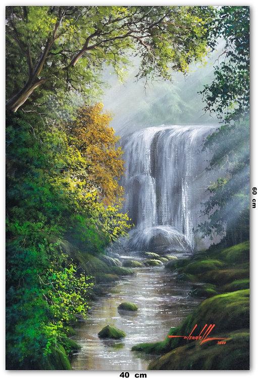 Pintura De Cachoeira Em Tinta Oleo sobre Tela 40 cm X 60 cm