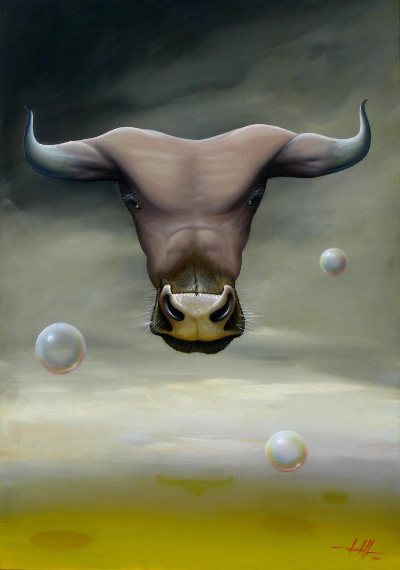 Obra Surrealista em Óleo sobre Tela - Minotauro