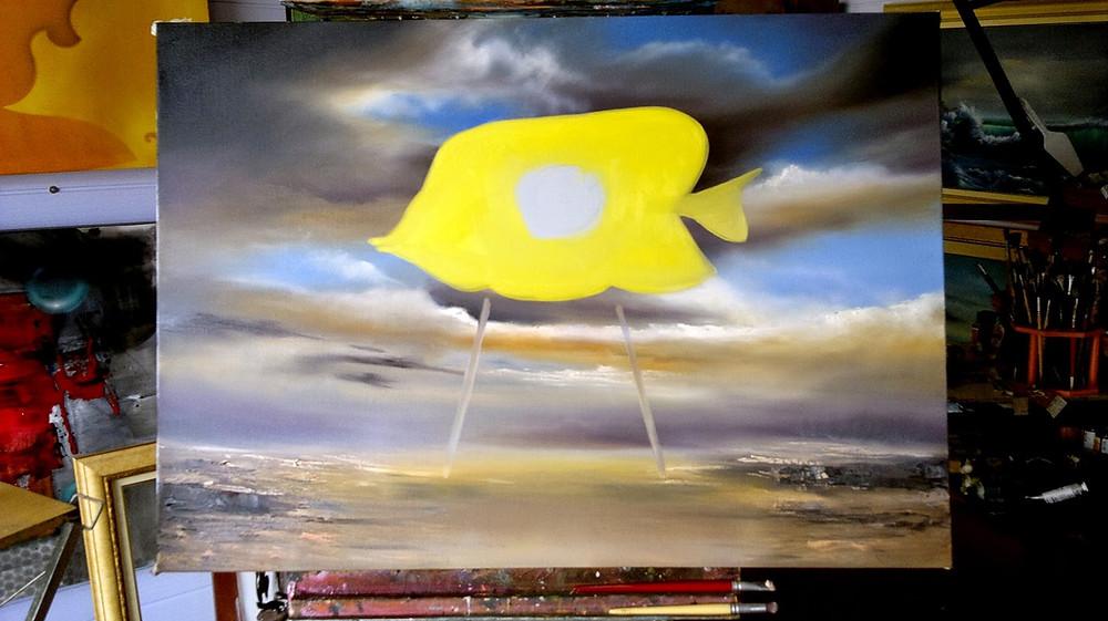 Obra Surrealista em Óleo sobre Tela