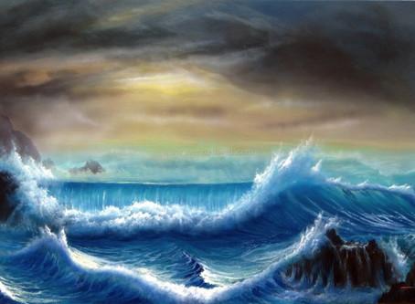 Pintura de Marinha em Óleo sobre Tela