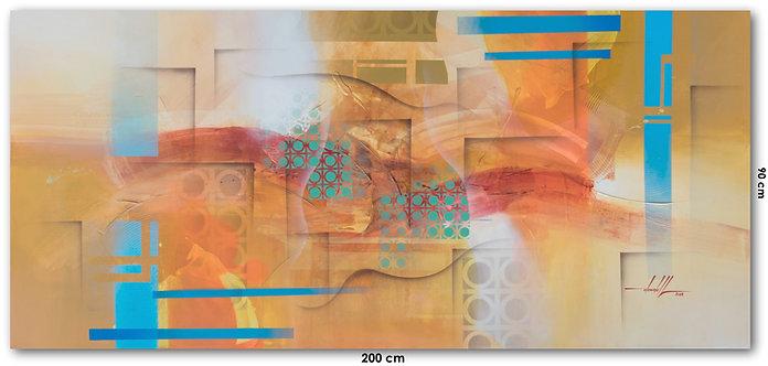 Arte Contemporânea Pintada em Tinta Acrílica 200 cm X 90 cm