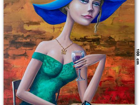Quadro Com Pintura De Mulher Elegante