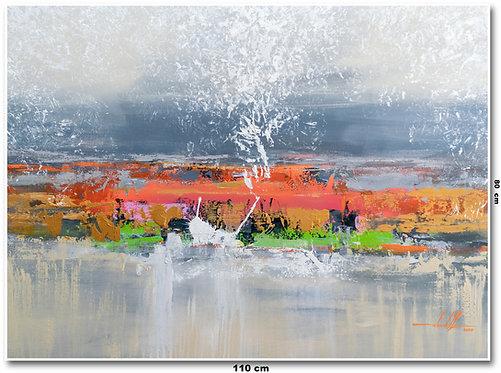 Tela Abstrata em Tela 110 Cm x 80 Cm - Campari-Belle