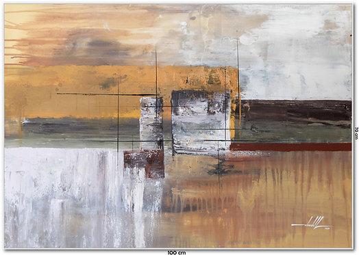 Quadro Com Pintura Abstrata Em Tela 100 cm X 70 cm - Tela 11
