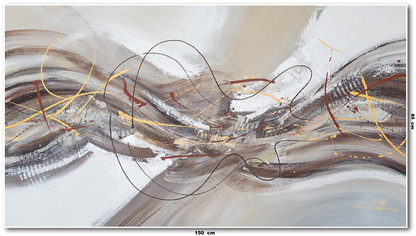 Tela Abstrata Em Tinta Acrílica 1,50 m X 0,90 m ZanaBallano
