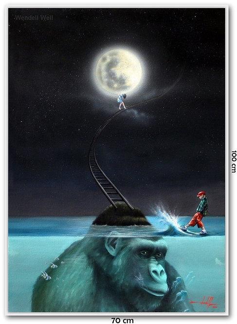 Obra Surrealista Em Óleo Sobre Tela - La Luna