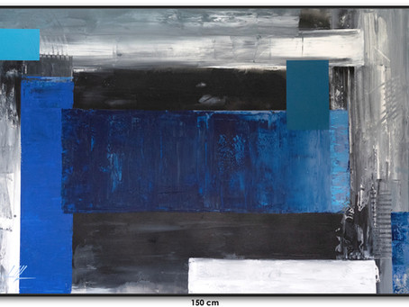 Quadro Abstrato Azul - Óleo Sobre Tela