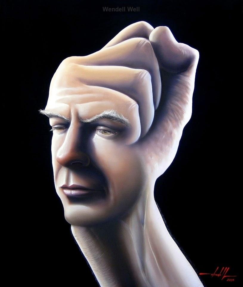 Obra Surrealista em Óleo sobre Tela - O Lutador