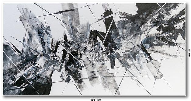 Tela Abstrata em Preto e Branco 100 Cm x 50 Cm - Lunna 11