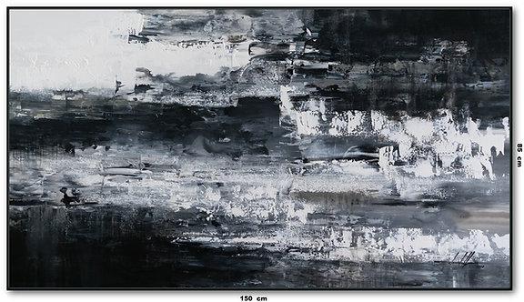 Tela Abstrata Preto e Branco 1,50 m X 0,85 m