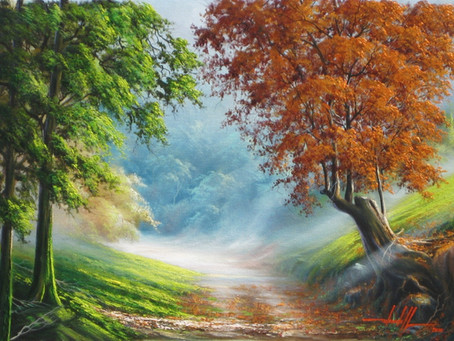 Pintura Em Tela - Paisagem Com Caminho