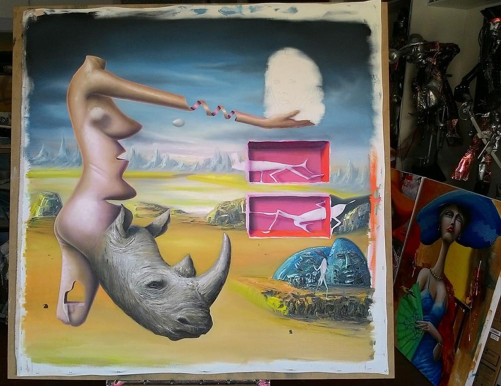 Obra Surrealista em Óleo sobre Tela - Ana Bolena