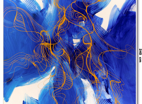 Tela Abstrata Azul Para Pé Direito Alto