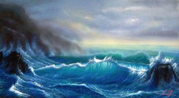 Pintura em Óleo sobre Tela 90 X 50 cm - Marinha 5