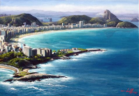 Pintura em Tela 99 cm X 69 cm - Paisagem do Rio de Janeiro 1