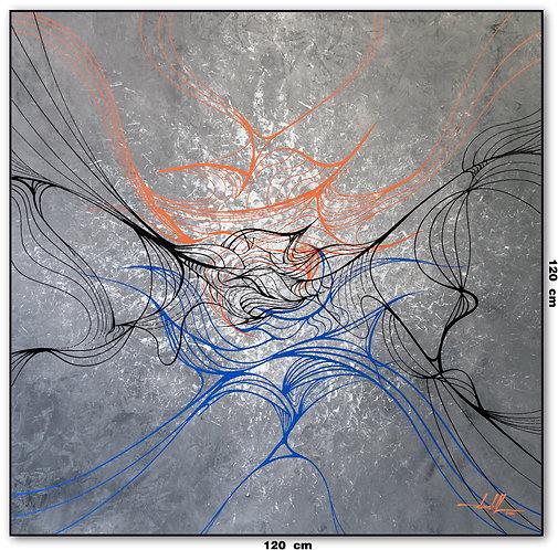Quadro Abstrato Fundo Cinza 120 cm X 120 cm