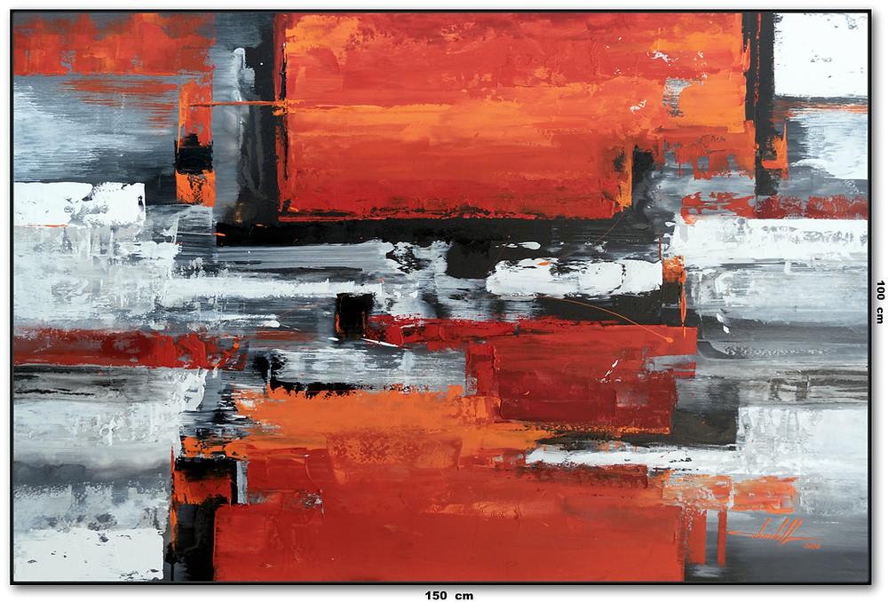 Tela Abstrata Com Vermelho