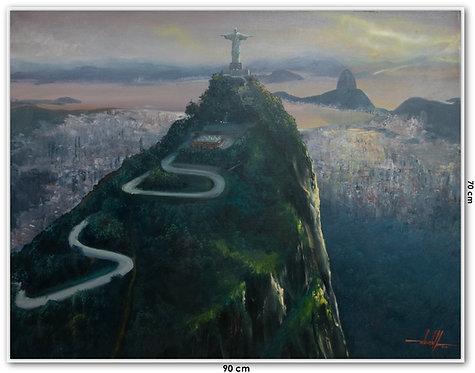Quadro Com Pintura Em Tela - Rio de Janeiro 90 cm X 70 cm
