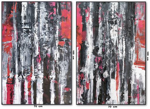 Dois Quadros com Telas Abstratas Em Óleo Sobre Tela - Com Moldura