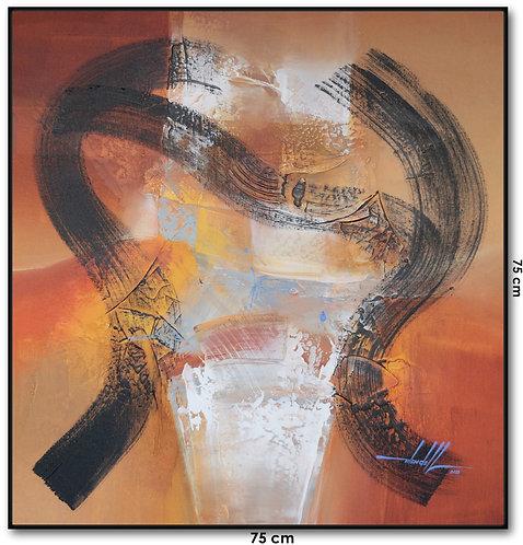 Quadro Com Pintura Abstrata 75 cm X 75 cm Kanui3