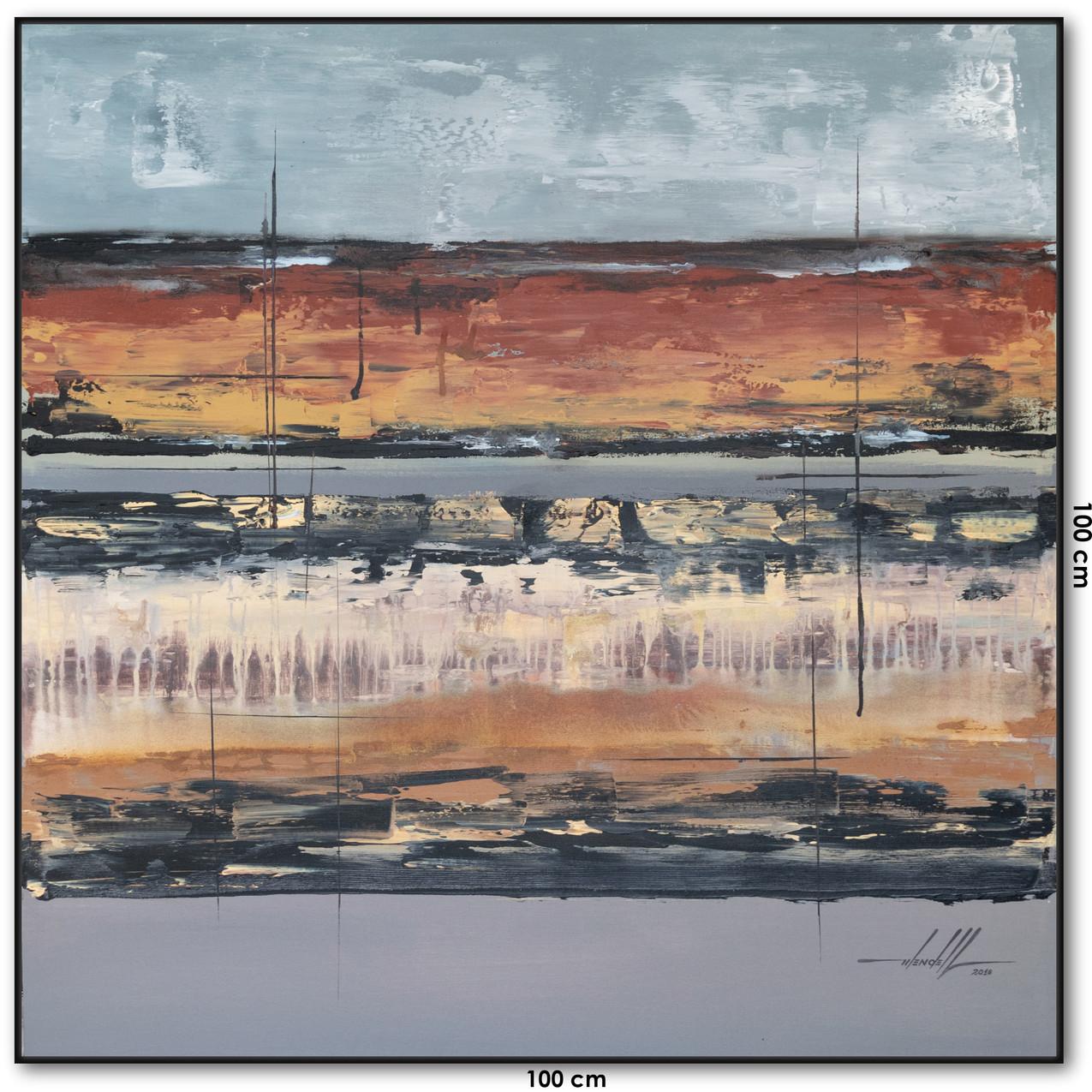Pintura Abstrata Em Tela 100 cm X 100 cm