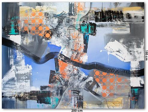 Pintura Abstrata Para Quadro Grande Na Sala - 200 cm X 150 cm