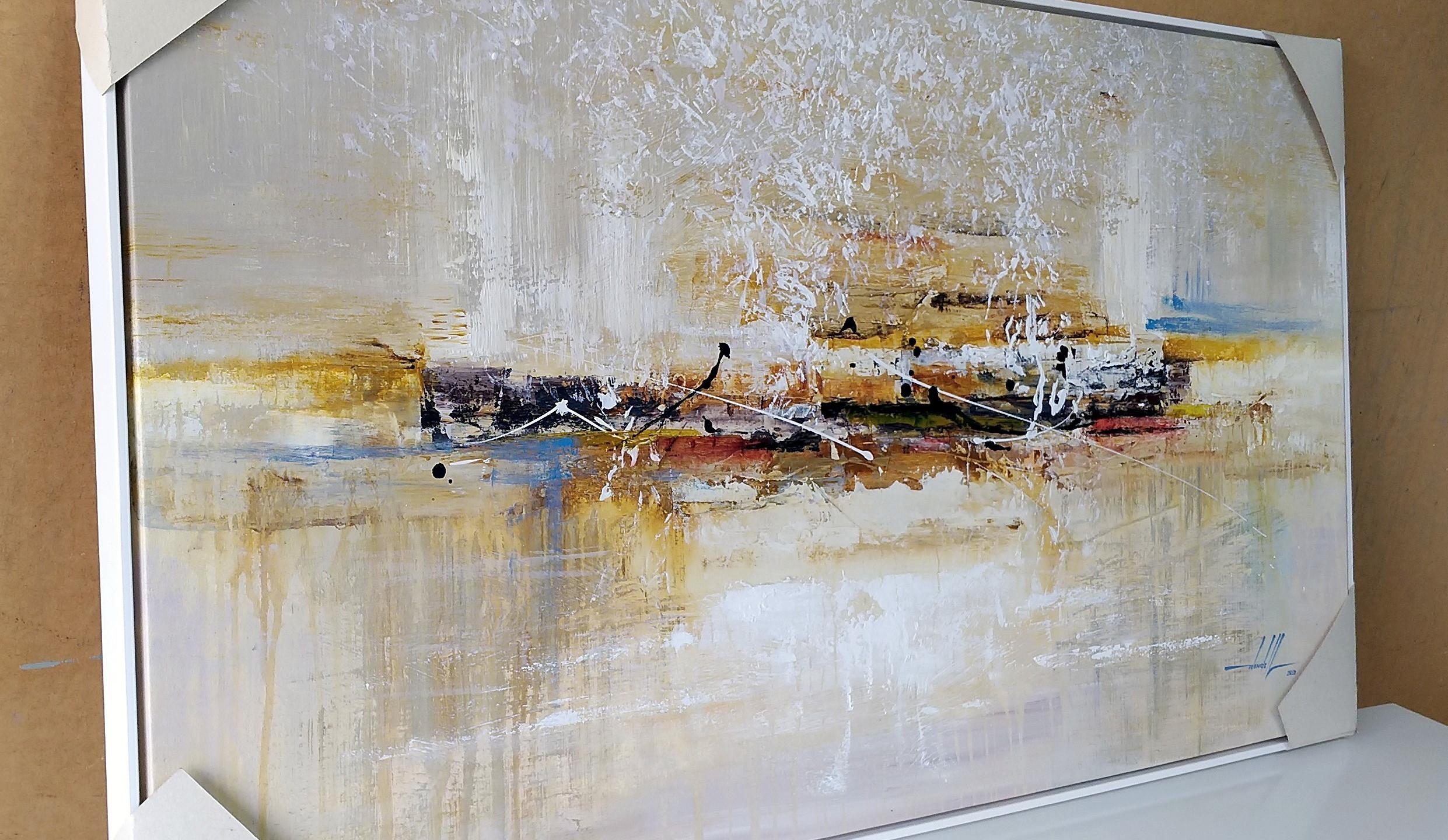 Quadro Com Pintura Abstrata Em Tela (2).