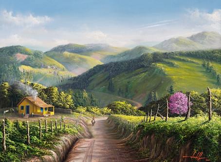 Pintura Em Óleo Sobre Tela - Paisagem Rural