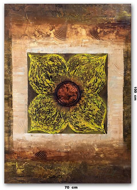 Tela Com Pintura De Flor 70 cm X 100 cm