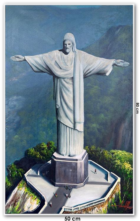 Quadro Com Pintura Em Tela - Rio de Janeiro 50 cm X 80 cm RJ18