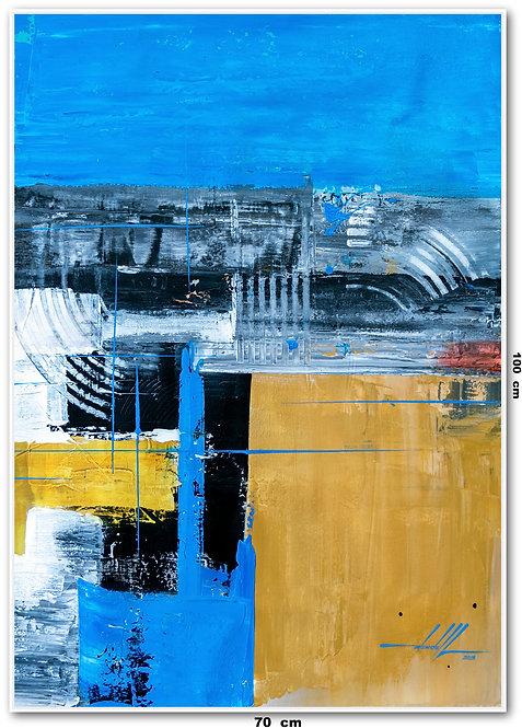 Quadro Com Pintura Abstrata Em Tela 70 cm X 100 cm - Tela 17