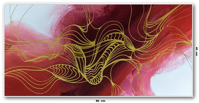 Quadro Com Pinturas Abstrata Vermelha 2 - Com Moldura