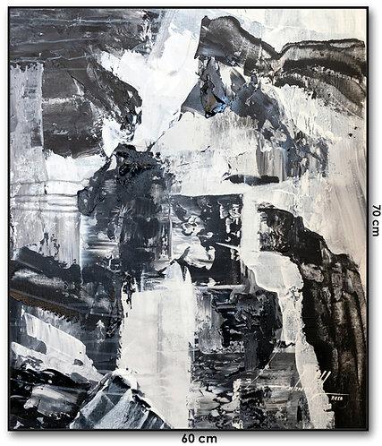 Quadro Com Pintura Abstrata Em Preto e Branco - Com Moldura - Lunna 5