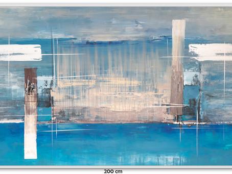 Quadros Abstratos Em Azul, Branco, Preto E Cinza