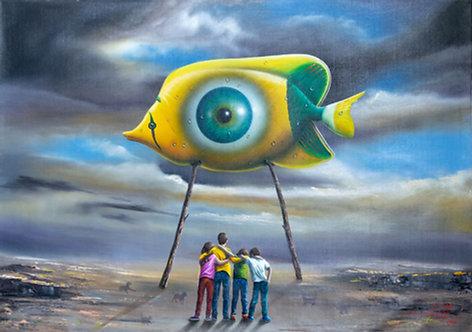 Obra Surrealista em Óleo sobre Tela - A Contemplação