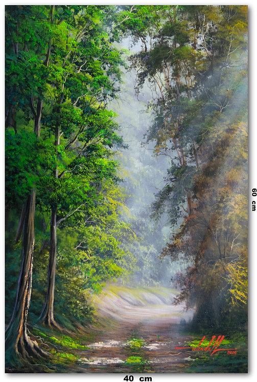 Pintura De Caminho Em Tinta Oleo sobre Tela 40 cm X 60 cm