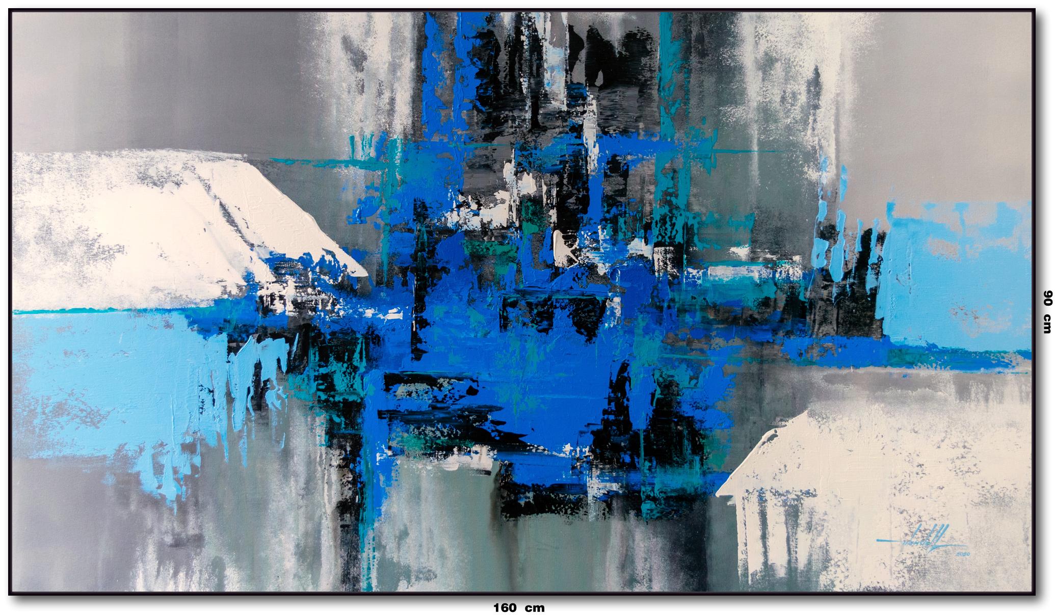 Tela Abstrata Azul Cinza Branco Preto 16