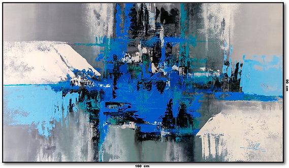 Tela Abstrata Azul Cinza Branco Preto 160 cm X 90 cm