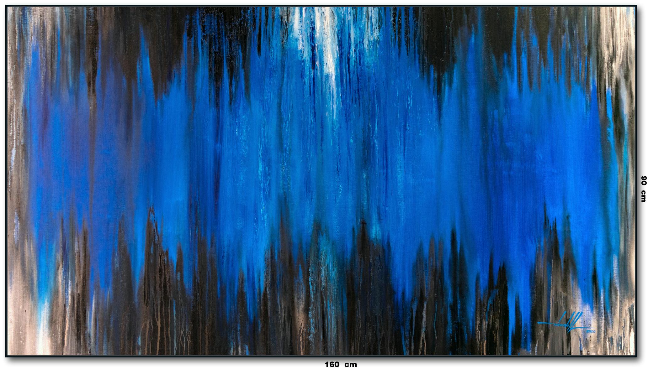 Tela Abstrata Azul E Preto 160 cm X 90 c