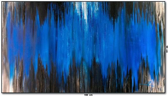 Tela Abstrata Com Azul E Preto 160 cm X 90 cm