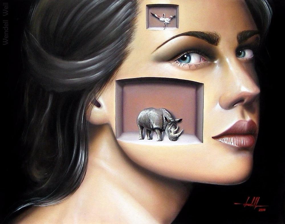 Obra Surrealista em Óleo sobre Tela - Paolla